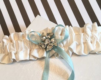 Pure Silk Handmade for Etsy Shop in the USA Wedding Garter with Something Blue Silk Ribbon and Vintage Wedding Heirloom Brooch