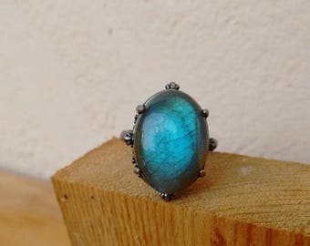 Labradorite Ring Boho Ring blue stone ring boho jewelry silver ring Adjustable solitaire ring // gift for girlfriend women