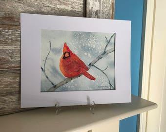 Painting of Cardinal in the Snow-Watercolor-Bird Painting-Cardinal