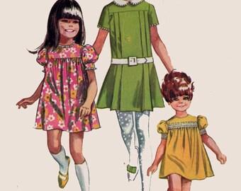 Vintage 1960s Girls Twiggy Dress Sewing Pattern w/ High Yoke & Pleats Simplicity 7565 Childrens Mod Sewing Pattern Size 2 Brest 21