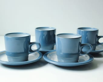 Set of 4 Edith Heath coffee cups & saucers opal blue rim line  Stack Mugs - Excellent condition - 4 cups, 3 saucers