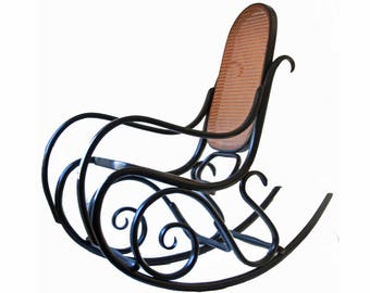 Vintage Bentwood Thonet Rocking Chair Black