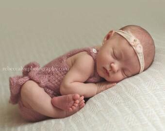Newborn Girl Romper, Tieback Headband, Onesie Ruffle Bottom, Newborn Photo Props,  Choose Color Size