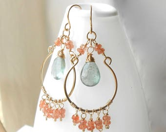 Boho Gemstone Earrings, Beaded Gold Filled Wire Work Jewelry, Moss Aquamarine and Sunstone, Statement Earrings