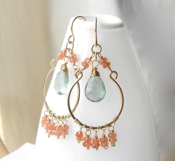 Beaded Gemstone Chandelier Earrings