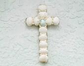 Cross with Shells, Shell Crucifix, White Aqua Blue Cross, Crucifix with Shells, Religious Christian Gift, New Baby Baptism Gift, OOAK Cross