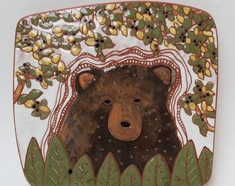 summertime bear on the trail hand carved ceramic art tile
