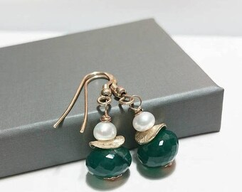 ON-SALE Green Onyx and Pearl Dangle Earrings -Wire Wrapped Dangle Earrings, Sterling Silver, Freshwater Pearl, Gemstone Earrings, Gift Ideas