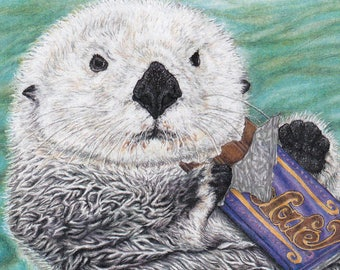 Candy Bar Otter Card from Original Pen and Colored Pencil Drawing