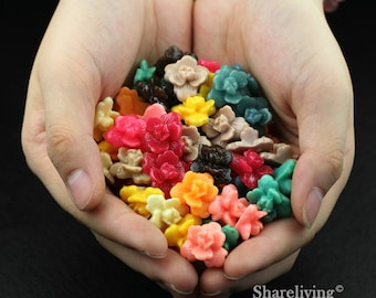 Clearance Sale -  Lots of 100pcs Mixed Color 3D Resin Flower Cabochons Charms  -- CLS004J