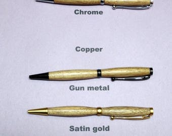 Butternut Wood Slimline Pen in 6 different finishes to choose from.