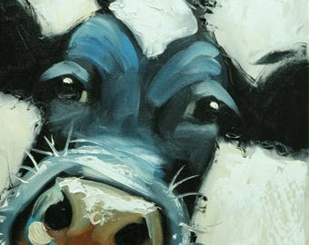 Cow painting 1220 12x12 inch original animal portrait oil painting by Roz