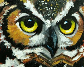 Owl painting 134 12x12 inch original oil painting by Roz