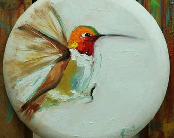 Bird painting 284 -  12 inch diameter original animal hummingbird portrait oil painting by Roz