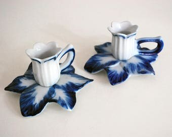 Porcelain Candle Holders, Blue White China, Brazilian Candlesticks, Monte Siao, Ceramic Taper Candle Holders, Hand Painted Flowers Jonquils