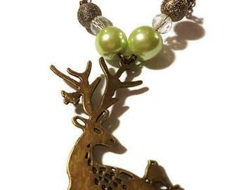 Reindeer bronze necklace