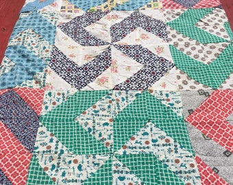Pinwheel Design  Vintage Hand Stitched Quilt Top  1950s Handmade Quilt Top