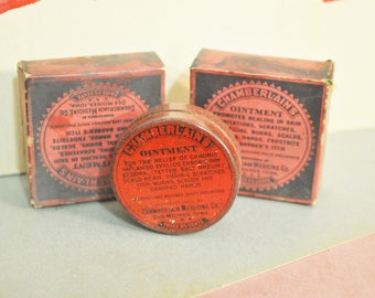 Vintage-1930s Ointment-Chamberlain  Ointment in Original Tin and Box  Old Pharmacy Stock  Vintage Tin and Original Box
