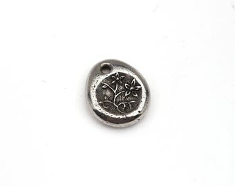 Small Blessings flowers charm, teardrop floral pendant, heal, Green Girl Studios lead free pewter 15mm