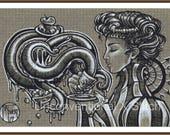 "Deep sea creature and tea cross stitch pattern - modern counted cross stitch - "" Poison "" - Licensed Natalie Ewert"