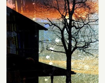 50% OFF SALE Abstract Winter Photograph, Architecture Picture, Landscape, Silhouette, House, Orange, Blue, Black - 8x10 Print- Winter Electr