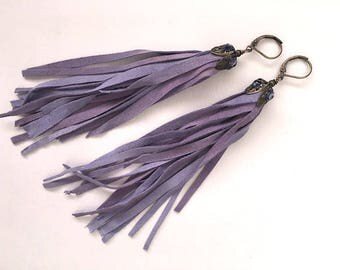 Leather Fringe Earrings~Swarovski studded~SOFT leather fringe~long earrings~pastel purple~lavender~bohemian style jewelry~festival~summer