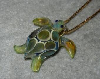 Lampwork Boro Glass Pendant - Focal Bead - MINI SEA TURTLE green