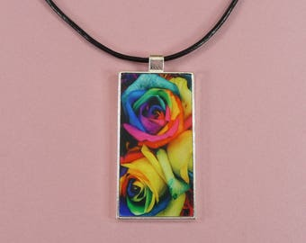"""NECKLACE KEYCHAIN Roses Rainbow Colors Domino Pendant Fob Gift for Her Matching Choker 18"""" Beautiful Bright Key Ring Gorgeous Multi Colored"""