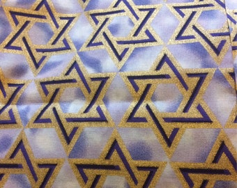 "Judaic Fabric Gold or Silver Stars of David on Light Blue by David Textiles Half Yard 18"" x 44"""