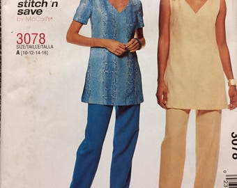 Easy to Sew Misses' Tunic and Pants McCall's 3078 Sewing Pattern  size 10-16 Bust 32-38 inches  Uncut Complete Sewing Pattern