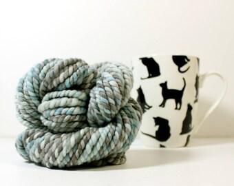 2ply soft water ... yarn, wool yarn, handspun yarn, hand spun yarn, rainbow yarn, 2ply candy cane yarn, bulky wool yarn,