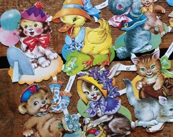 German Scraps - Baby Animals - Die Cuts, Cut Outs, Reproduction, Vintage Style, Vintage Inspired, Cute Kittens, Paper Ephemera, Cute Animals