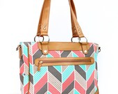 Laptop Camera Bag - Coral and Mint Herringbone - Laptop Tote - Womens Laptop Satchel - Canvas and Vegan Leather
