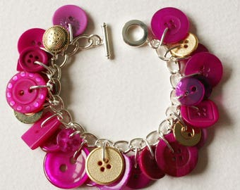 Button Charm Bracelet Magenta Orchid Pink with Gold Accents