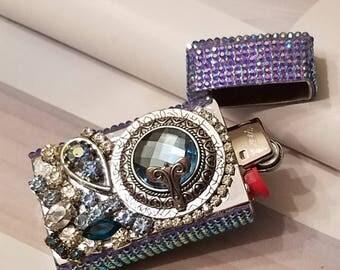 Blue Bling Bic Mini Lighter Case