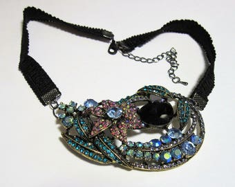 Statement Necklace Rhinestone Floral Choker Black Rose Light Sapphire Amethyst Blue Zircon Light Amethyst AB Large Big E791