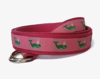 Women's Canvas Belt Green Whale D-Ring Belt Preppy Ribbon Belt / Pink Whale Webbing Belt for women, teens, girls, plus size women