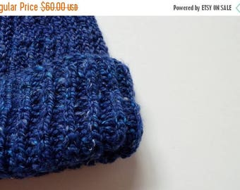 First Fall Sale - 15% Off Deep Blue Navigator Beanie - Hand Knit from Handspun Wool Blended with Bamboo & Linen. Ski Beanie, Handmade, Winte
