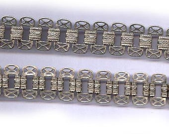 """vintage BOOK CHAIN or BOOKCHAIN brass chain lacy filigree design 16"""" x 1/2"""" great for festoon necklace rhodium plated"""