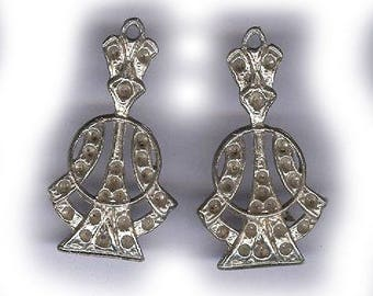 UNFINISHED vintage VICTORIAN LOOK findings with loop, beautiful patina, rhodium plated one pair
