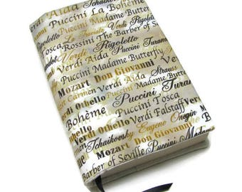 Book cover, TRADE SIZE paperback book cover,  book protector, cotton, padded cover, ribbon bookmark,   Famous Composers