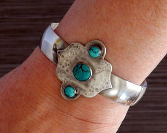 Turquoise Cuff Sterling Silver Cuff Natural Gemstones Cuff Bracelet Turquoise Jewelry Gift For Her Statement Bracelet Silver Cuff Bracelet