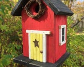 Wooden Red Birdhouse Yellow Door Grapevine Wreath Metal Star Black Roof and Base Bottom Removes for Clean out