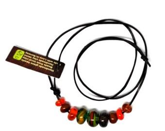 Handmade beads. Green/orange bead set /necklace/bracelet for vikings
