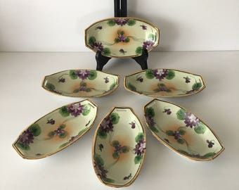 Antique Takito Japan Bone Dishes Olive or Candy Tray Set of Six Fine Porcelain China 1920's Hand Painted Violets Gold Rim