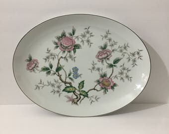 Halsey Chantilly 16 Inch Oval Platter Beautiful Japanese Style Floral Silver Metallic Rim Delicate Botanical Floral