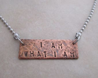 I am what I am necklace stainless steel oxidized copper