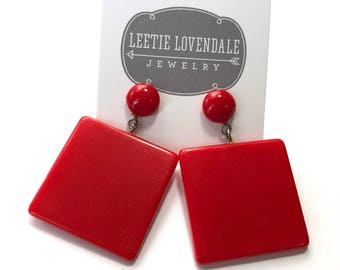 Cherry Red Mod Earrings - Bold Square Drops - Geometric lovely vintage & sustainable stud drop earrings