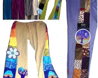 Grateful Patchwork Pants, women's pants,Side panel patch cords,custom patchwork, hippie patchwork corduroy pants, grateful dead cords