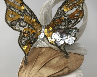 Silver & Gold Butterfly Fascinator